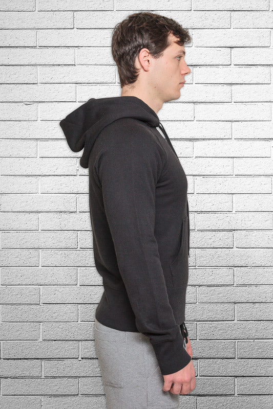 slim fit bamboo monkey hoodie in black side view