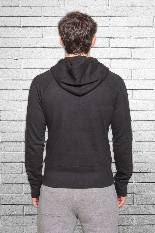slim fit bamboo monkey hoodie in black back view