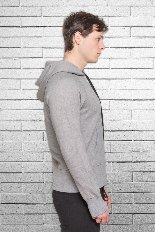 slim fit bamboo monkey hoodie in micro stripe side view