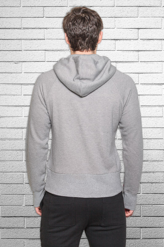 slim fit bamboo monkey hoodie in micro stripe back view
