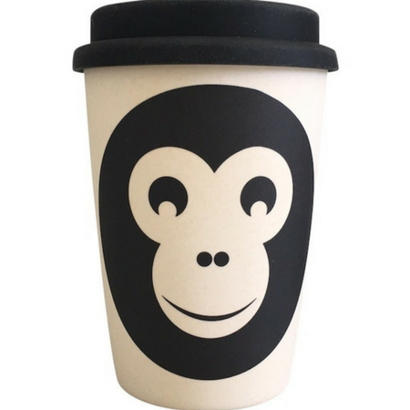 bamboo monkey reusable coffee cup