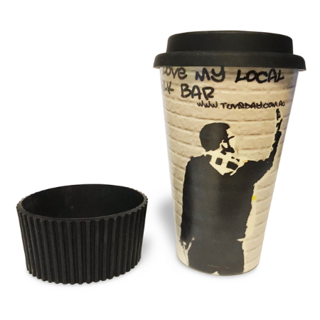 re-usable coffee cup made from Bamboo.