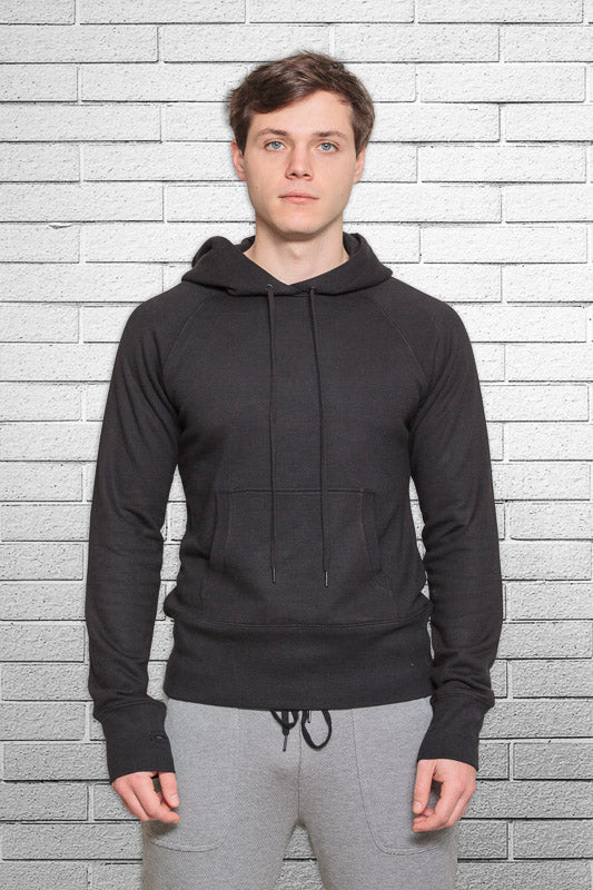 slim fit bamboo monkey hoodie in black