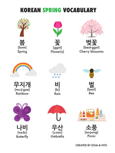 Spring Vocabulary in Korean Part 1 Poster