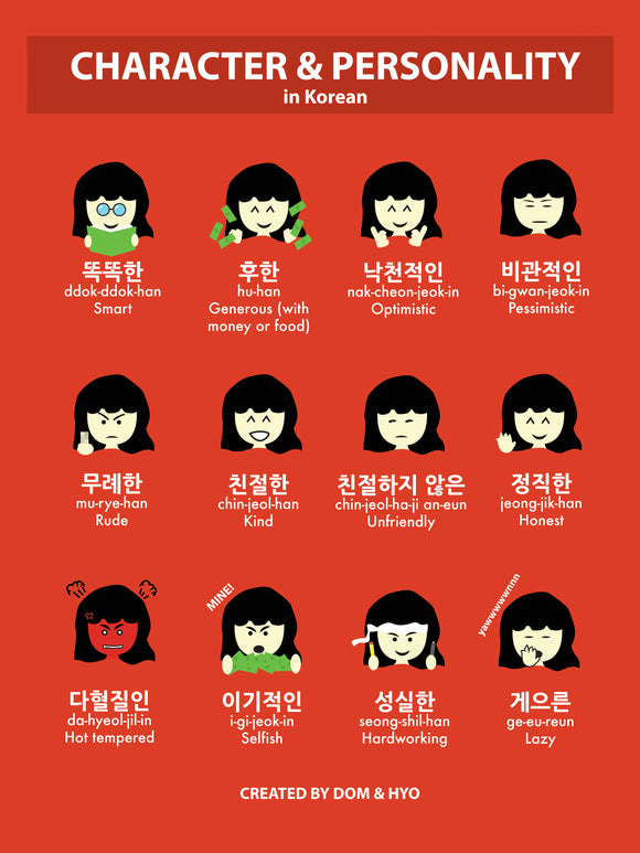 Character & Personality Words in Korean Poster