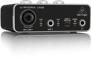 Behringer U-Phoria UM2 Audiophile 2x2, 48kHz USB Audio Interface with XENYX Mic Preamp