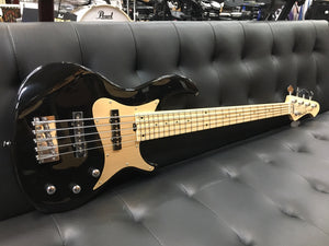 Aria 5 string bass guitar Black with gold guard