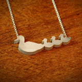Duck Mom and 3 Babies Silhouette Necklace