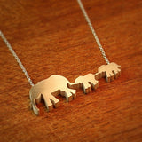 Elephant Mom and 2 Babies Silhouette Necklace