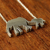 Elephant Mom and Baby Silhouette Necklace