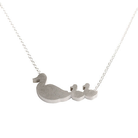 Duck Mom and 2 Babies Silhouette Necklace