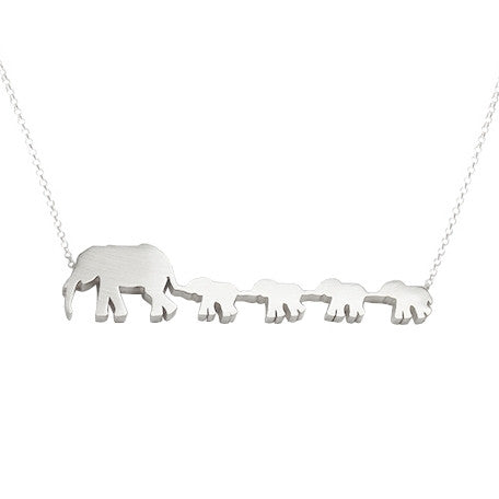 Elephant Mom and 4 Babies Silhouette Necklace