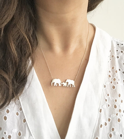Elephant Parents and Baby Silhouette Necklace