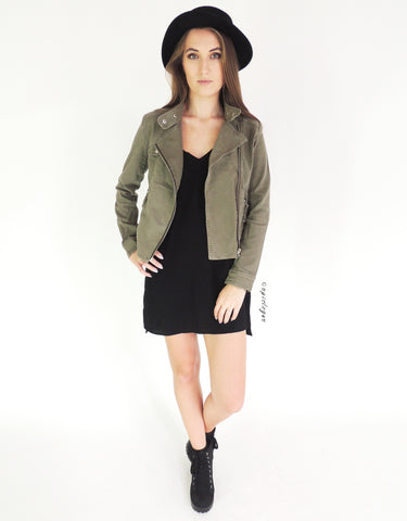 Biker Jacket in Khaki Green
