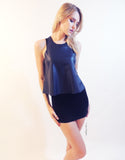 Leather Tank Top in Navy
