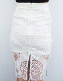 Laced Pencil Skirt in White
