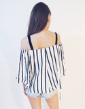 Off Shoulder Stripe Top (Black)