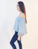 Basic Off Shoulder Top (Blue)
