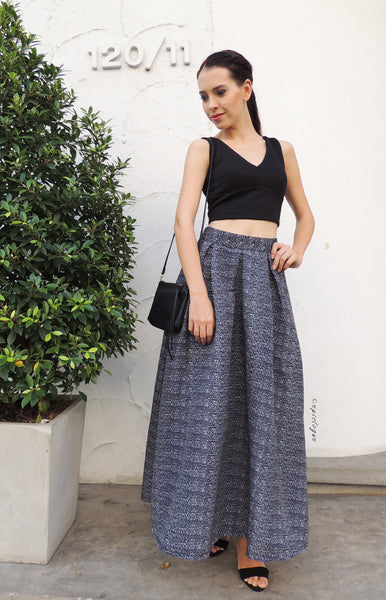 Grey Speckled Maxi Skirt