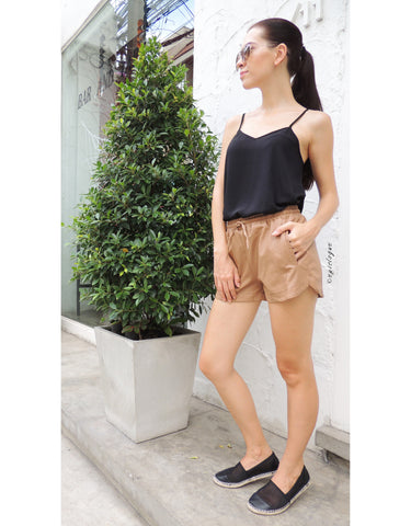 Dark Nude Leather Shorts