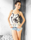 Palm Tree Tassel Top in White