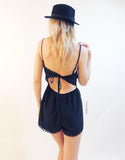 Circle Lace Playsuit in Black