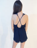 Pom Pom Playsuit in Dark Blue