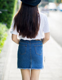 Scallop Hem Denim Skirt