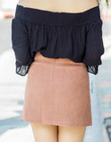 Camel Suede Shift Skirt