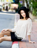 Off the Shoulder Tassel Top (Beige)