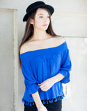 Off the Shoulder Tassel Top (Blue)