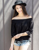 Off the Shoulder Tassel Top (Black)