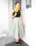 Midi Pleat Skirt in Olive