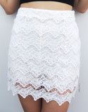 Laced Skirt in White