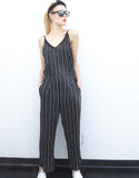 Pinstripe Jumpsuit in Black