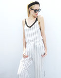 Pinstripe Jumpsuit in White