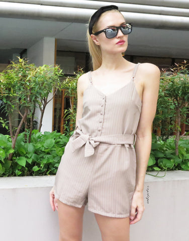 Pinstripe Playsuit in Nude