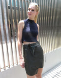 Asymmetric Leather Skirt in Dark Green