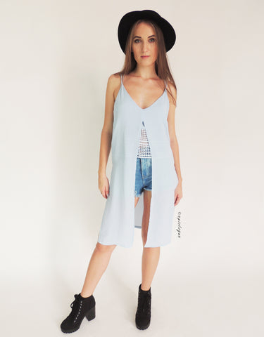 Flowy Longline Top in Blue
