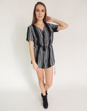 Boho Sleeved Playsuit in Black
