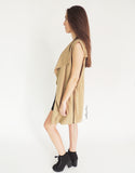Classic Sleeveless Trench Coat in Khaki