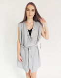 Classic Sleeveless Trench Coat in Grey