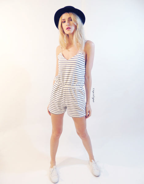 Stripe Playsuit in White