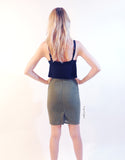 Criss Cut Pencil Skirt in Khaki Green
