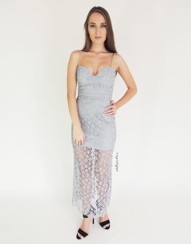 Grey Lace Maxi Dress