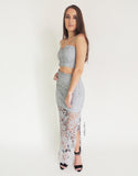 Grey Lace Top & Skirt Set