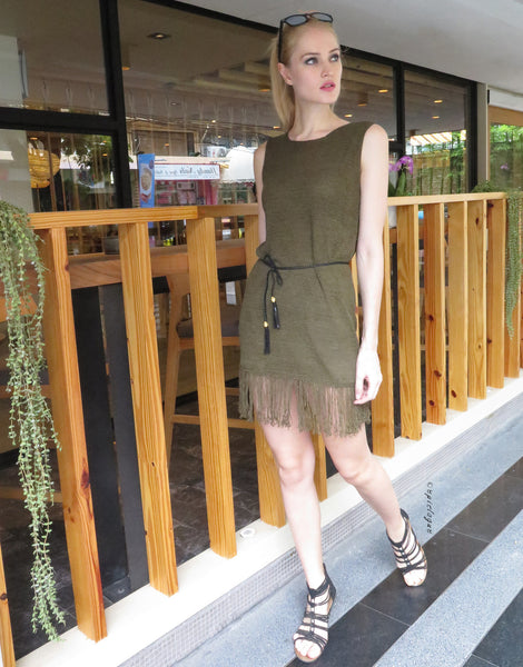 Tassel Knit Dress in Olive Green