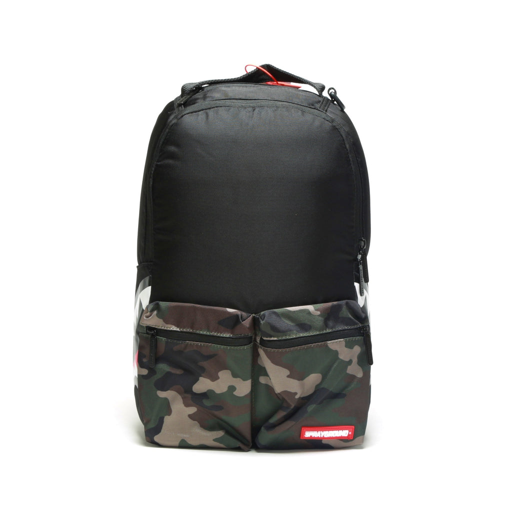 Camo Side Shark Double Cargo Backpack - Black