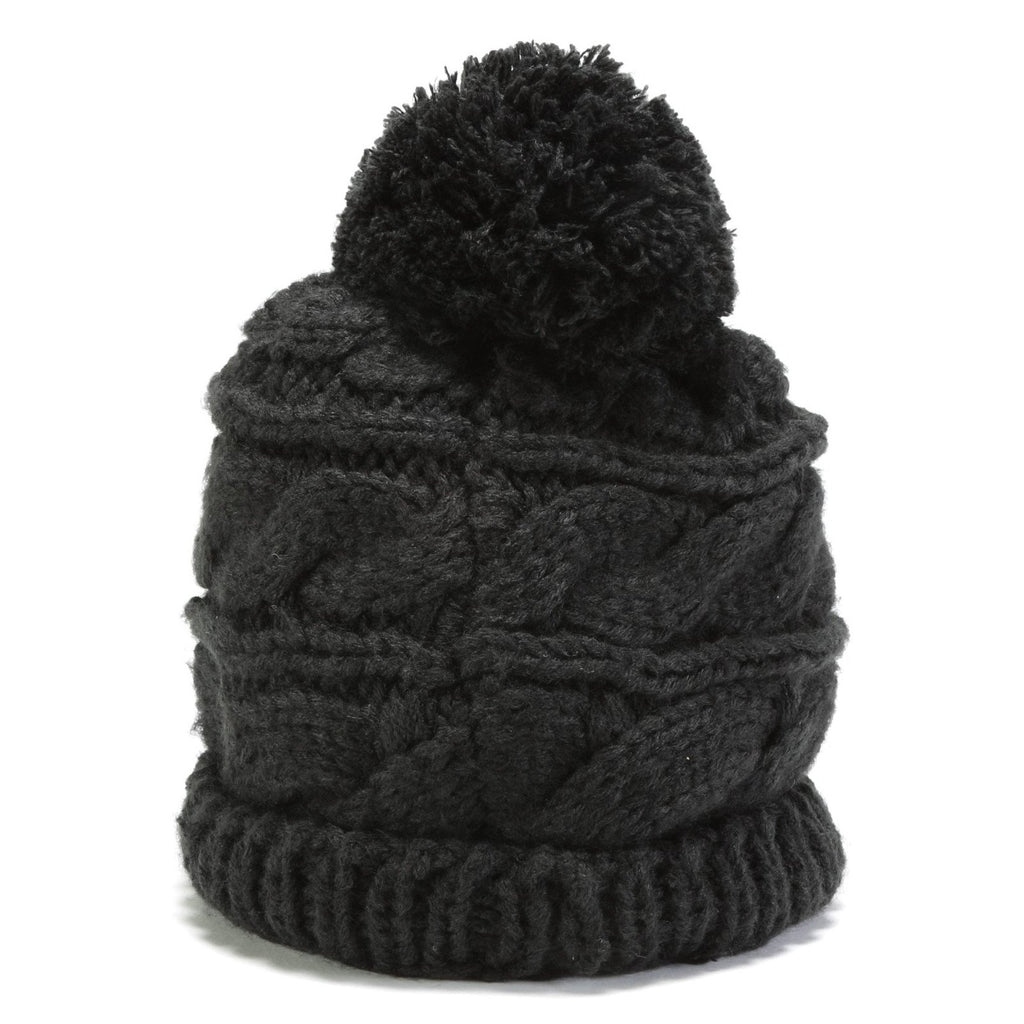Women's Triple Cable Beanie - Black
