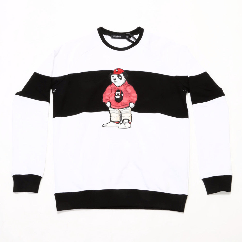 Panda Long Sleeve Crew - White